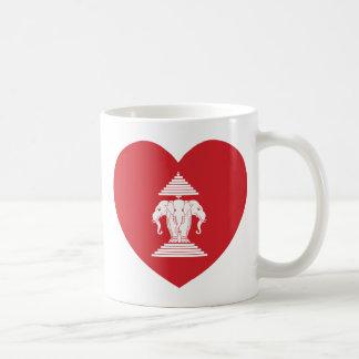 Laotian Erawan 3 Headed Elephant Heart Flag Coffee Mug
