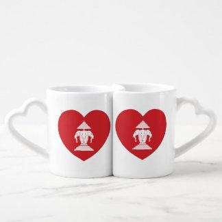 Laotian Erawan 3 Headed Elephant Heart Flag Coffee Mug Set