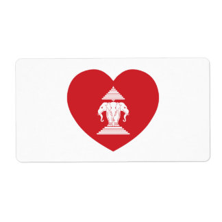 Laotian Erawan 3 Headed Elephant Heart Flag Label