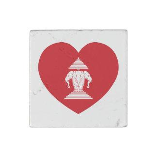 Laotian Erawan 3 Headed Elephant Heart Flag Stone Magnet