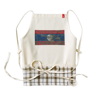 Laotian Flag on Rough Wood Boards Effect Zazzle HEART Apron