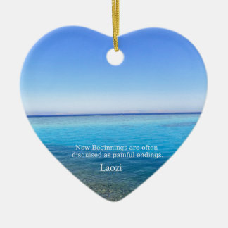 Laozi inspirational quote about NEW BEGINNINGS Double-Sided Heart Ceramic Christmas Ornament