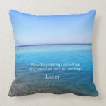 Laozi inspirational quote about NEW BEGINNINGS Throw Pillows
