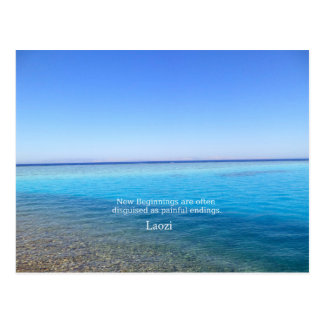 Laozi inspirational quote about NEW BEGINNINGS Postcard