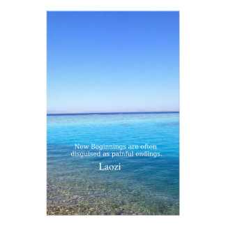 Laozi inspirational quote about NEW BEGINNINGS Personalized Stationery