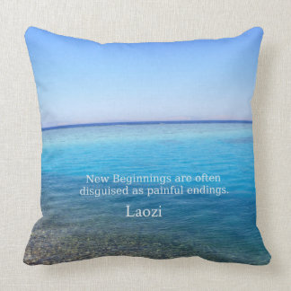 Laozi inspirational quote about NEW BEGINNINGS Throw Pillow