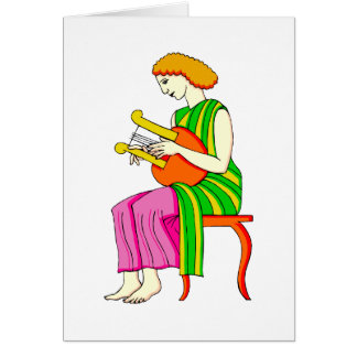 Lap Harp Female Player Ancient Style Graphic Greeting Card