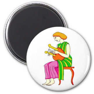 Lap Harp Female Player Ancient Style Graphic Fridge Magnets