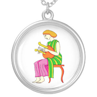 Lap Harp Female Player Ancient Style Graphic Round Pendant Necklace