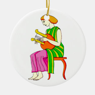 Lap Harp Female Player Ancient Style Graphic Double-Sided Ceramic Round Christmas Ornament