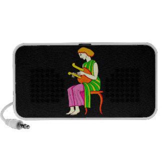 Lap Harp Female Player Ancient Style Graphic Mini Speakers