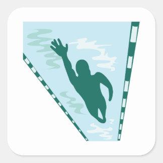 Lap Swimmer Square Sticker