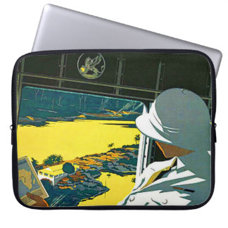 LAP TOP SLEEVE - OFF TO AFRICA-VINTAGE LAPTOP COMPUTER SLEEVE