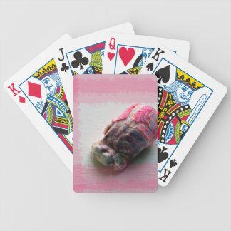 lapa en imagen de la playa de la cáscara del rosa barajas de cartas
