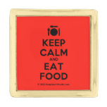 [Cutlery and plate] keep calm and eat food  Lapel Pin