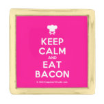 [Chef hat] keep calm and eat bacon  Lapel Pin