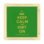 [Knitting crown] keep calm and knit on  Lapel Pin