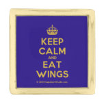 [Crown] keep calm and eat wings  Lapel Pin
