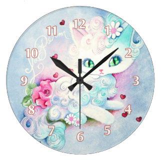 LaPerm Princess Kitty Love Large Clock