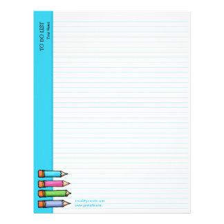 Lápices coloreados azules hacer la lista plantillas de membrete