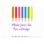 Lápices coloreados postal