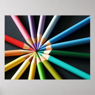lápices coloreados póster