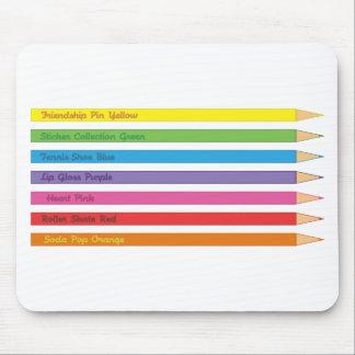 Lápices coloreados tapete de raton