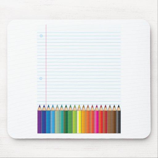 Lápices coloreados tapetes de ratón