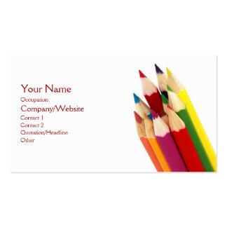 Lápices coloreados tarjetas personales