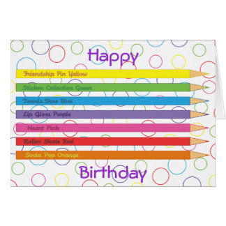 Lápices coloreados tarjeta de felicitación
