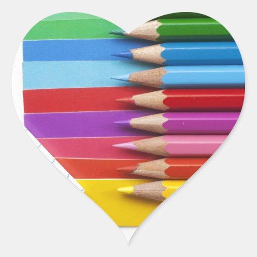 Lápices coloridos calcomania corazon personalizadas
