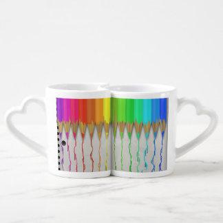 Lápices de fusión del arco iris tazas para parejas