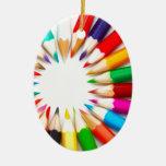 Lápices del color adorno navideño ovalado de cerámica