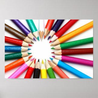 Lápices en un círculo por el poster de Petr Kratoc