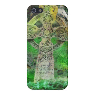 Lápida mortuaria de la cruz céltica iPhone 5 fundas