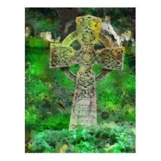 Lápida mortuaria de la cruz céltica postales