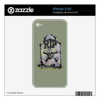 Lápida mortuaria o piedra sepulcral del calcomanías para iPhone 4S