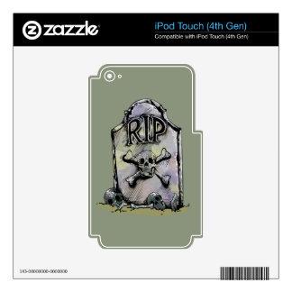 Lápida mortuaria o piedra sepulcral del iPod touch 4G calcomanías