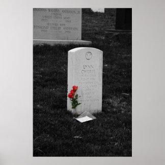 Lápida mortuoria en el cementerio Washington C C Impresiones