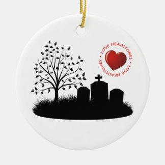 Lápidas mortuorias del amor adorno navideño redondo de cerámica