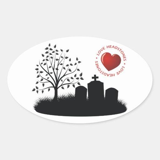 Lápidas mortuorias del amor pegatina ovalada