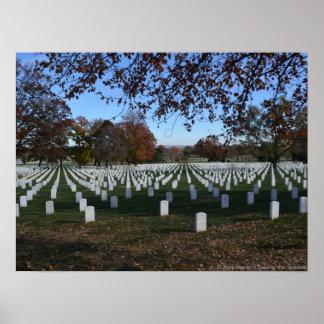 Lápidas mortuorias del cementerio de Arlington en Impresiones