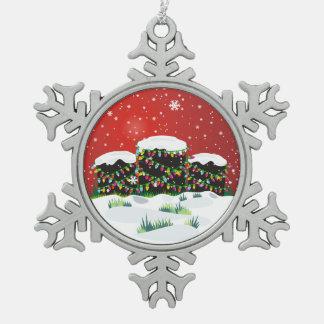 Lápidas mortuorias del navidad adorno de peltre en forma de copo de nieve