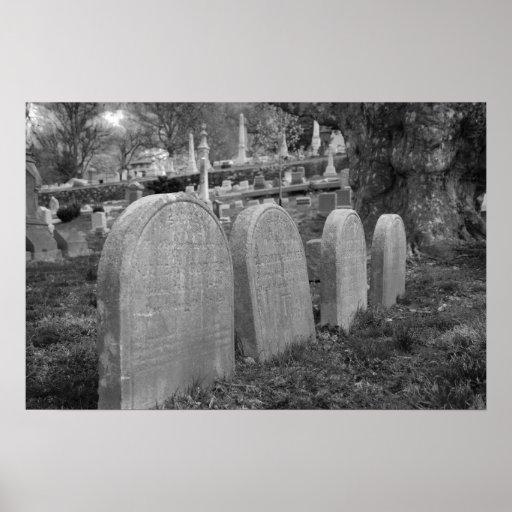 lápidas mortuorias viejas póster