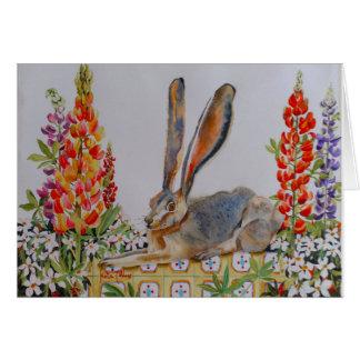 Lapin y altramuces tarjeta de felicitación