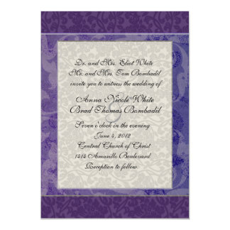 Lapis and Silver Damask Style Wedding Invitation