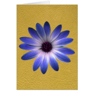 Lapis Blue Daisy on Yellow Leather print Greeting Card