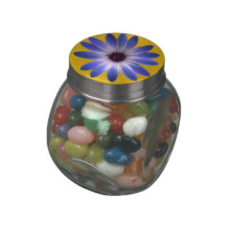 Lapis Blue Daisy on Yellow Leather print Glass Candy Jar