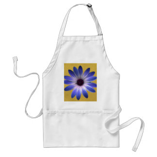Lapis Blue Daisy on Yellow Leather Texture Aprons