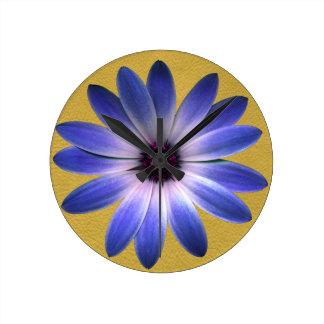 Lapis Blue Daisy on Yellow Leather Texture Clocks